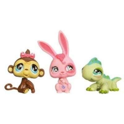 Hasbro tube 3 petshop lapin singe l zard - Petshop singe ...